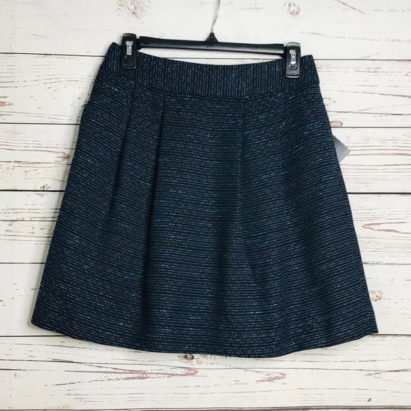 Halogen Pleated Tweed A Line Skirt Blue Size 2P